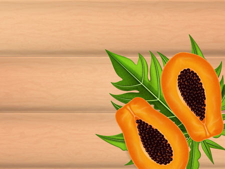 Wooden table background with ripe papaya. Vector illustration. Иллюстрация