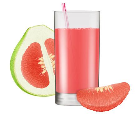 A glass of fresh pomelo juice. Vector illustration. Illustration