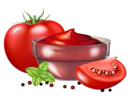 A glass bowl of tomato sauce with fresh oregano leaves and tomato. Vector illustration.