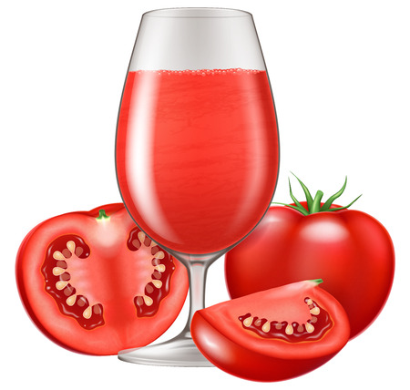 A glass of tomato juice. Vector illustration.