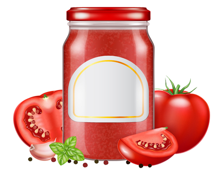 A glass jar of tomato sauce with fresh oregano leaves and tomato. Vector illustration.