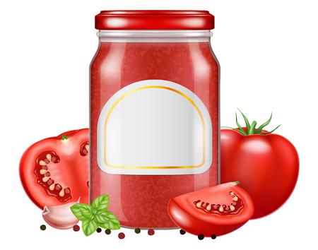 Un frasco de vidrio con salsa de tomate con hojas frescas de orégano y tomate. Ilustración vectorial. Ilustración de vector