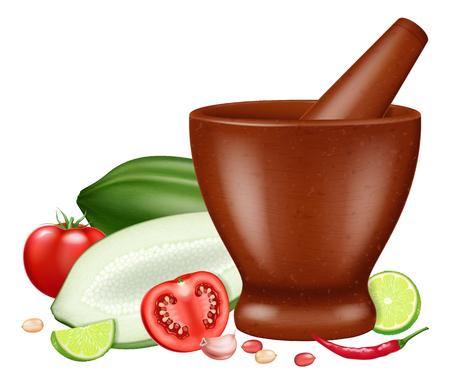 Salade de papaye verte ou Som Tam. Illustration vectorielle.