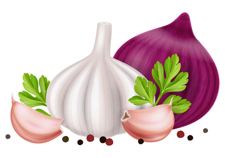 Garlic and onion with peppercorn and parsley leaves. Vector illustration. Иллюстрация