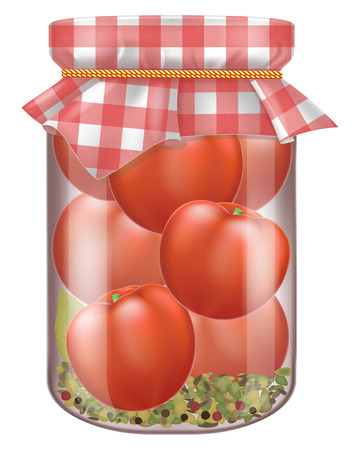 Jar of marinated tomatoes with fabric cover. Vector illustration.