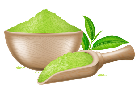 Wooden bowl and spoon with matcha powder and tea leaves. Vector illustration.
