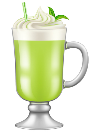 A glass of matcha green tea with tea leaves. Vector illustration.