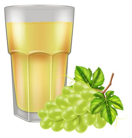 A glass of fresh grape juice. Vector illustration.