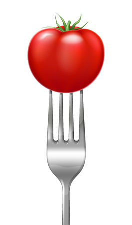 Red tomato on a steel fork. Vector illustration.