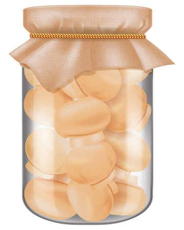 A glass jar of marinated champignon mushrooms. Vector illustration. Иллюстрация
