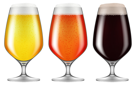 Elegant craft beer glasses. Vector illustration.