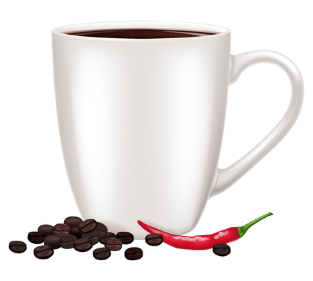 A coffee cup and chili. Vector illustration.