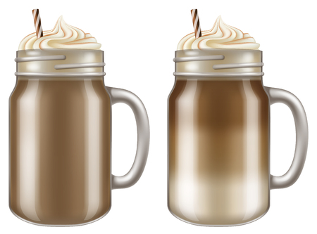 Macchiato  Cappuccino coffee in mason jar mugs. Vector illustration. Иллюстрация