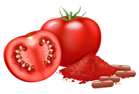 Fresh tomato and lycopene capsules. Vector illustration.