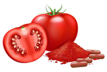 Fresh tomato and lycopene capsules. Vector illustration.