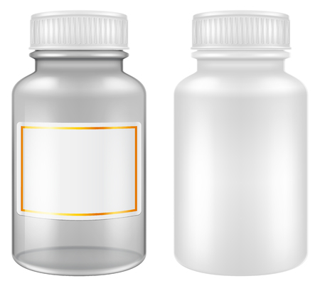 Medical plastic and glass pill jars  bottles. Vector illustration. Ilustração