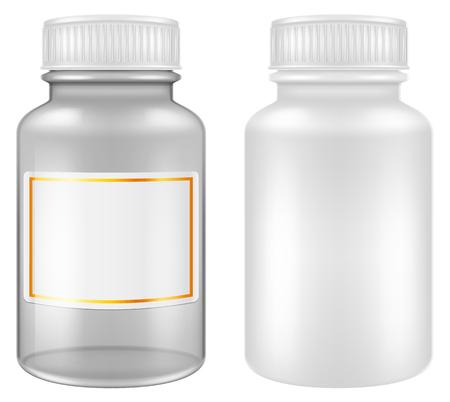 Medical plastic and glass pill jars  bottles. Vector illustration. Illustration
