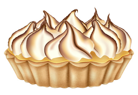 Lemon tart with toasted meringue. Vector illustration. Ilustração