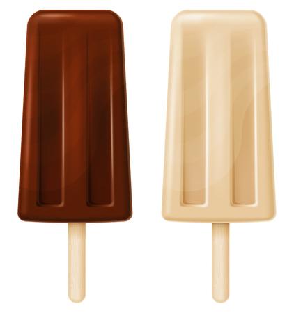 Chocoladeroomijs in twee versies. Vector illustratie.