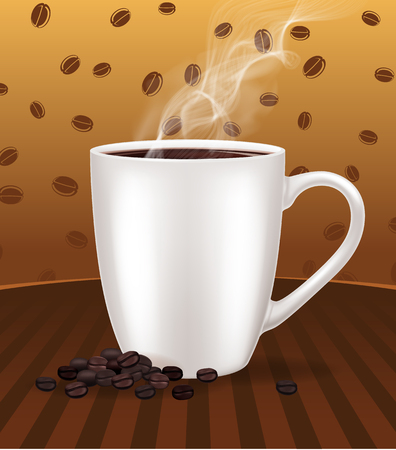 Coffee cup with roasted beans.Vector illustration. Иллюстрация