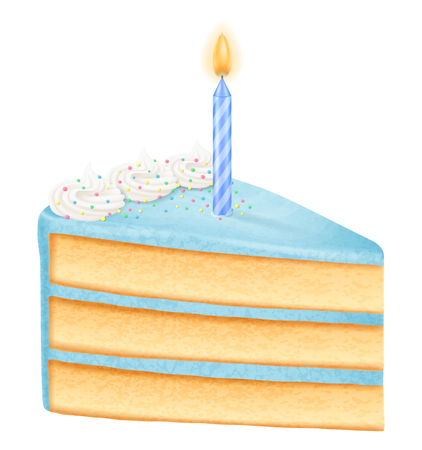Slice of birthday cake with candle, boy variation. Vector illustration.