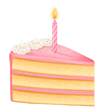 Slice of birthday cake with candle, girl variation. Vector illustration. Иллюстрация