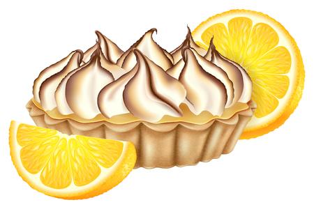 Crostata al limone con meringa tostata e limone fresco. Illustrazione vettoriale. Vettoriali