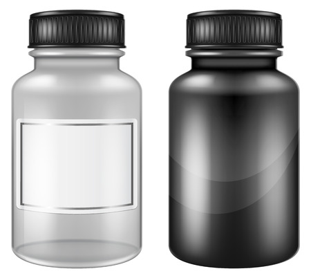 Medical plastic and glass pill jars  bottles. Vector illustration. Illustration