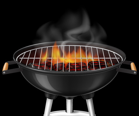 Black barbecue grill with embers and flame. Vector illustration. Иллюстрация