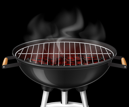 Black barbecue grill with embers and smoke. Vector illustration.