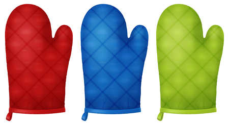 Set of kitchen gloves. Vector illustration.