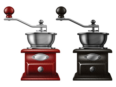 Set of manual coffee grinders. Vector illustration.