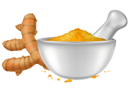 Porcelain mortar and pestle with turmeric (curcuma longa) powder and fresh turmeric root. Vector illustration.