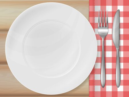 Wooden table background with plate, silver fork and knife. Vector illustration.