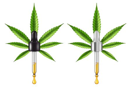 Medical cannabis (marijuana) leaf and eye dropper with essential CBD oil. Vector illustration.