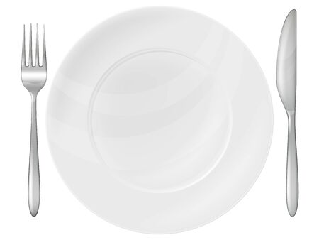 A plate, silver fork and knife. Vector illustration.