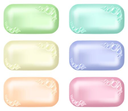 Set of soap bars with foam. Vector illustration. 일러스트