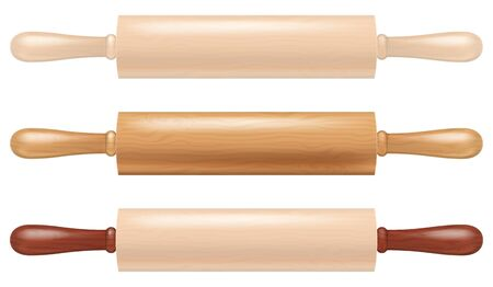 Set of wooden rolling pins. Vector illustration.