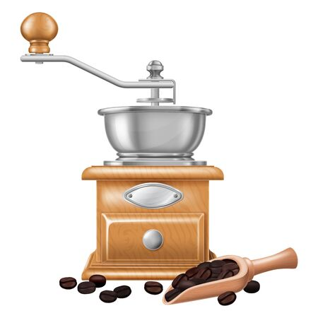 Manual coffee grinder and a wooden spoon full of coffee beans. Vector illustration.