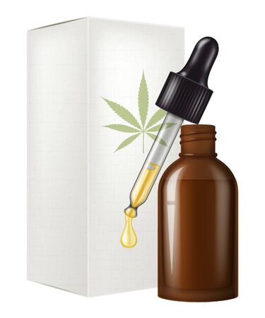 Medical cannabis (marijuana) oil in a glass bottle and dropper. Vector illustration. 일러스트