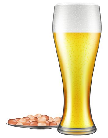 Beer glass and peanuts on a plate. Vector illustration.