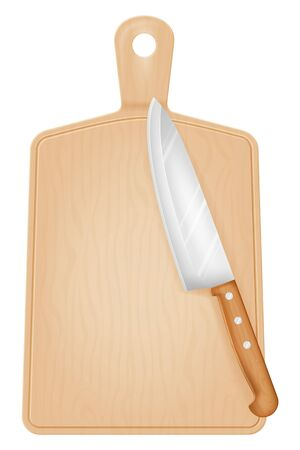 Cutting board and knife. Vector illustration.