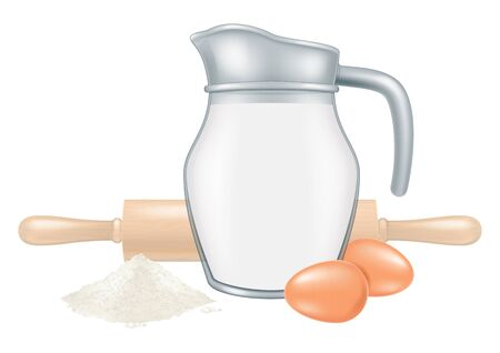 Jar of milk with rolling pin and two eggs. Vector illustration. 일러스트