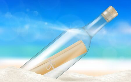 Message in a bottle on a beach. Vector illustration.