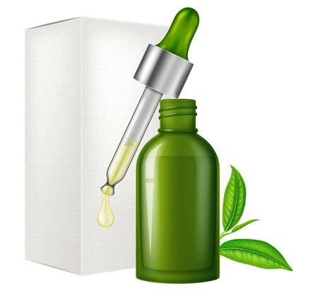 Green tea oil in a glass bottle and dropper. Vector illustration. Illustration