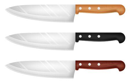 Set of kitchen knives. Vector illustration.