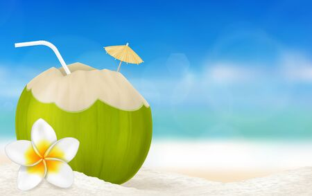 Fresh drinking coconut and a frangipani flower on a beach. Vector illustration. Vectores