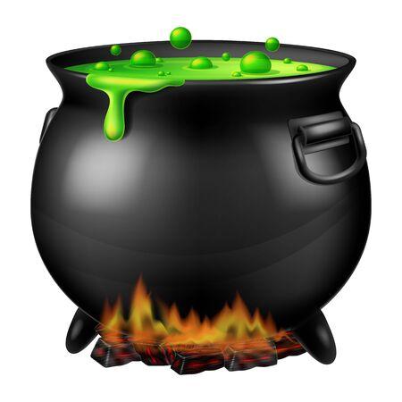 Chaudron de sorcière d'Halloween avec de la mousse verte bouillonnante. Illustration vectorielle.