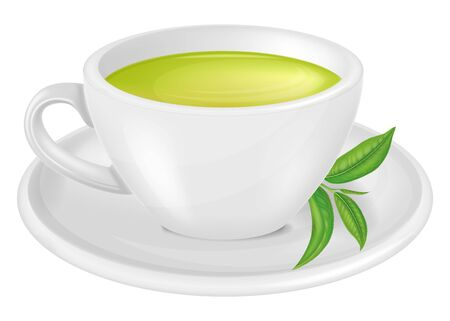 A cup of green tea. Vector illustration.