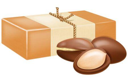 Natural handmade argan soap with argan nuts. Vector illustration.